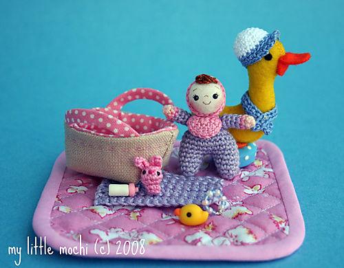Lavendar baby pink bib